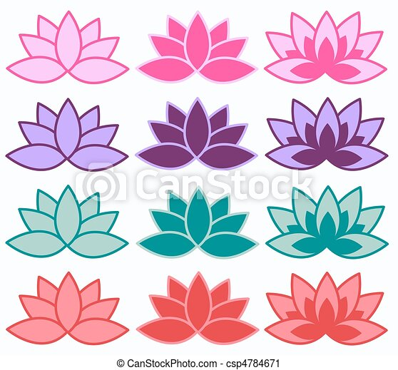 Lotus Flower Lotus Symbols In Different Colour Combinations