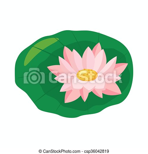 Lotus Flower Icon Cartoon Style Lotus Flower On Green Leaf Icon In