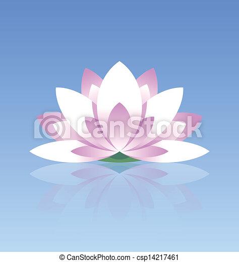 Lotus flower icon spiritual lotus flower icon on calm water surface lotus flower icon csp14217461 mightylinksfo