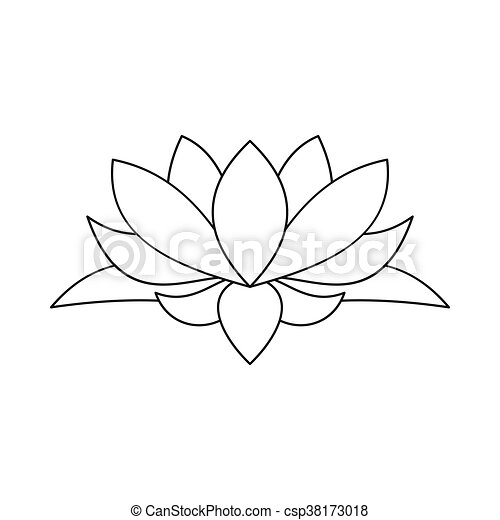 Lotus Flower Icon Outline Style Lotus Flower Icon In Outline Style