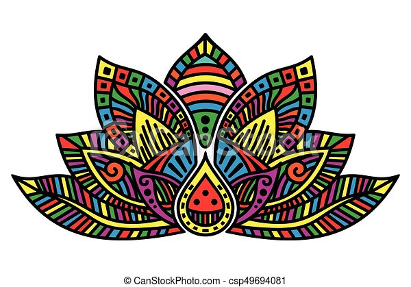 Lotus flower tattoo vector image of egyptian lotus flower on white lotus flower tattoo csp49694081 mightylinksfo