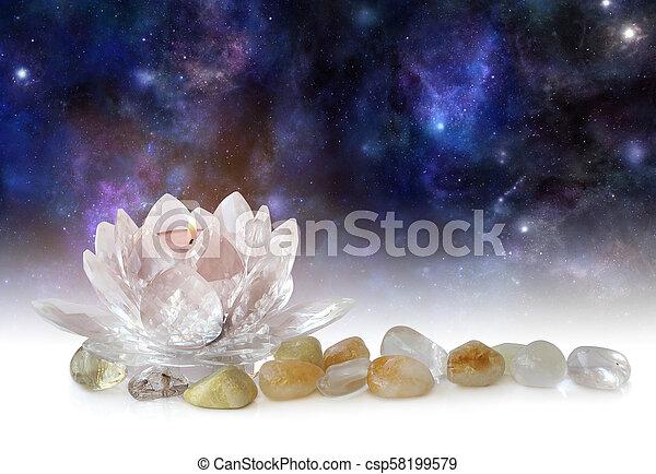 Lotus Flower Tea Light And Tumbled Stones Glass Lotus Tea Light