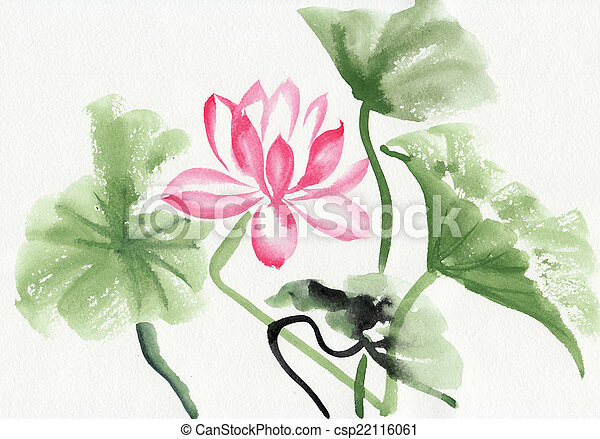 Lotus Flower Watercolor Painting Original Art Asian Style