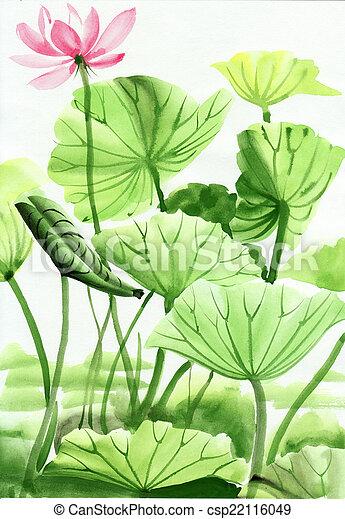 Lotus Flower Watercolor Painting Original Art Asian Style