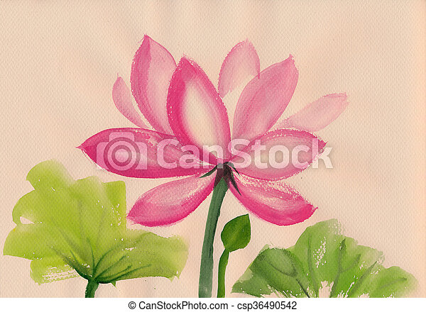 Lotus Flower Watercolor Painting Lotus Flower Watercolor Painting