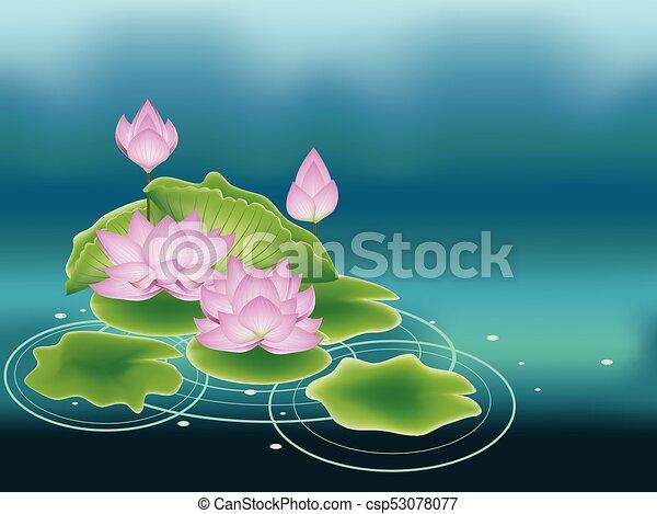 Lotus flower with leaves blooming pink lotus flowers with big green lotus flower with leaves csp53078077 mightylinksfo