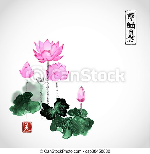 Lotus flowers hand drawn with ink isolated on white background lotus flowers hand drawn with ink csp38458832 mightylinksfo