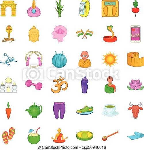 Lotus icons set, cartoon style - csp50946016