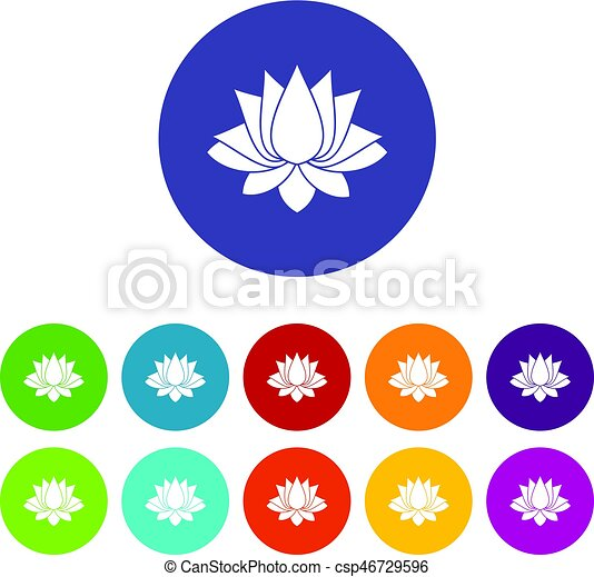 Lotus icons set flat vector - csp46729596