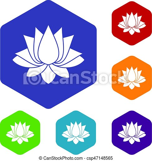 Lotus icons set hexagon - csp47148565