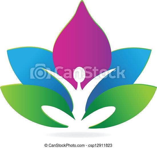 lotus, logo, méditation, yoga - csp12911823