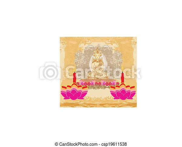 Lotus Oil Lamp with Buddha card - csp19611538