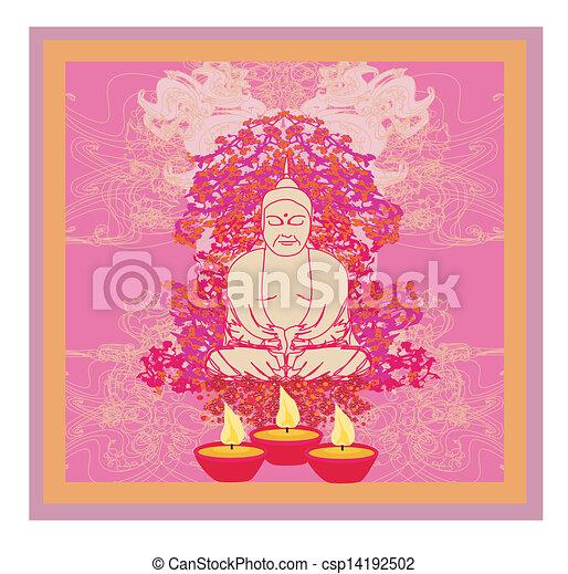 Lotus Oil Lamp with Buddha card - csp14192502