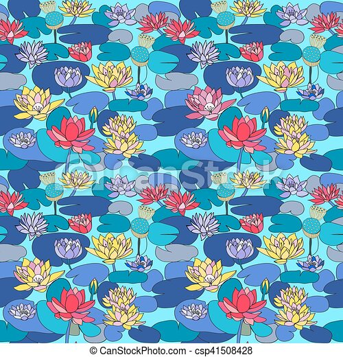 Lotus Pattern 3 2eps Vector Seamless Pattern With Beautiful Hand