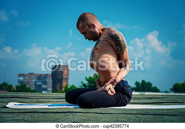 lotus pose meditation yoga concept experienced yoga