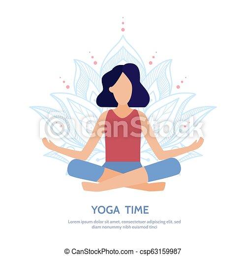 lotus pose yoga banner girl sitting in a lotus position