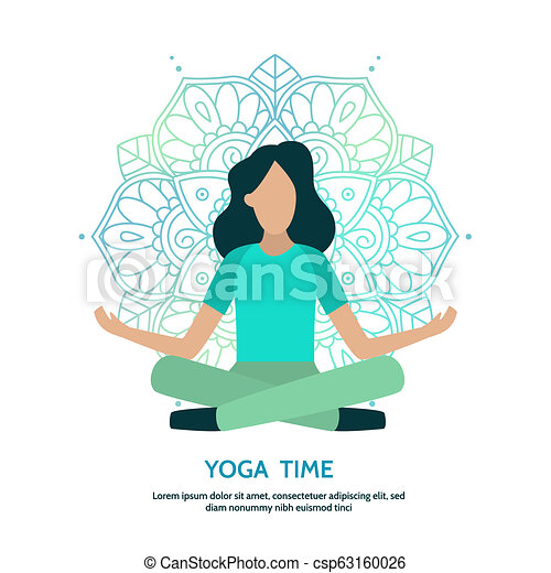 Lotus Pose Yoga Banner Woman In Lotus Pose Flat Yoga And Meditation Illustration Banner With Text Area Vector Template