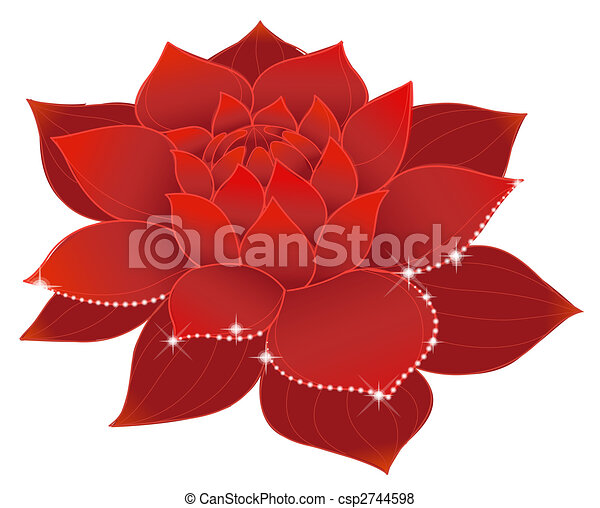 Illustration drawing of beautiful red lotus with shine lotus csp2744598 mightylinksfo
