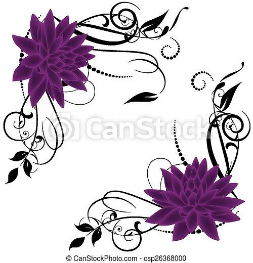 Lotus Swirl Vector Frames