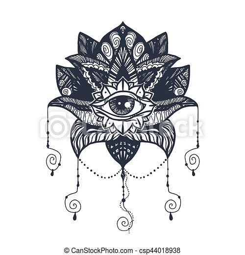 lotus, tatouage, oeil , csp44018938