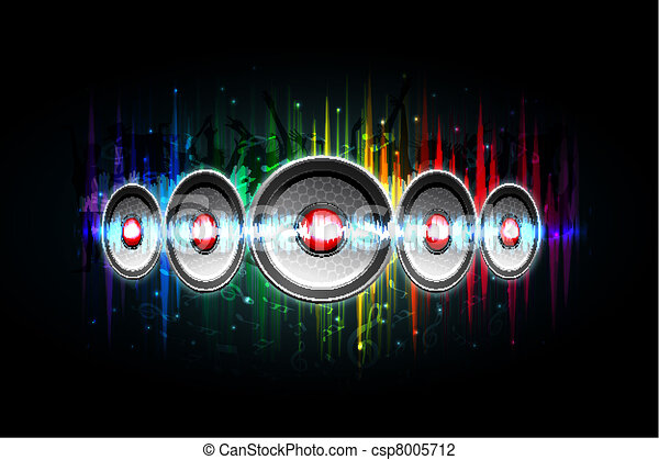 Loud Speaker on Musical Background - csp8005712