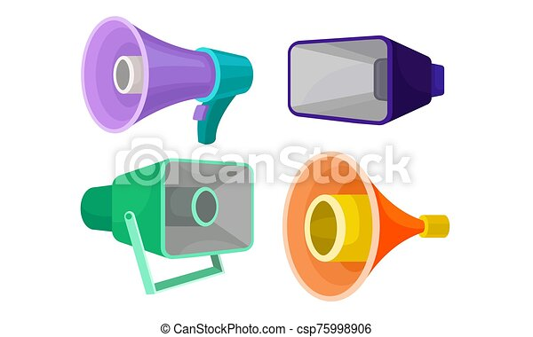 loudspeakers collection colorful megaphones symbol of promotion announce advertising vector illustration on a white can stock photo