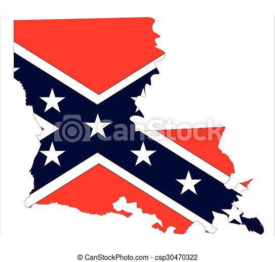 Louisiana State Map And Confederate Flag - csp30470322