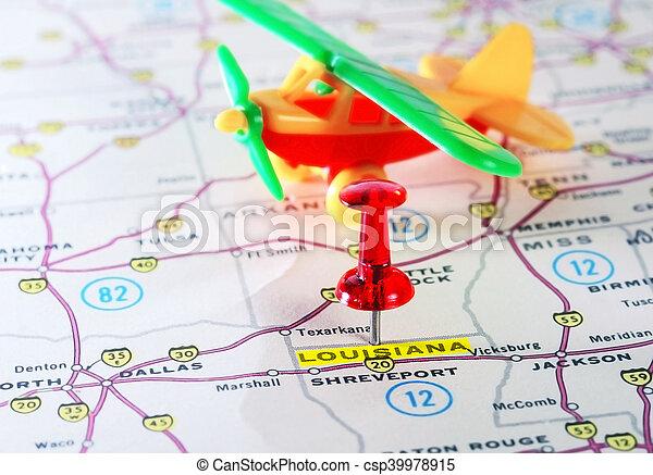 Louisiana Usa Map Airplane Close Up Of Louisiana Usa Map With Red