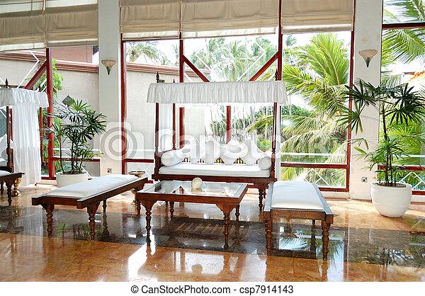 Lounge area at the lobby of luxury hotel, Bentota, Sri Lanka - csp7914143