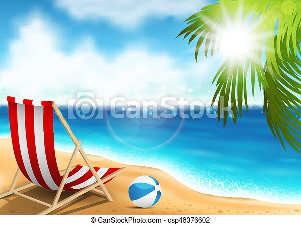 Lounge chair on the seaside - csp48376602