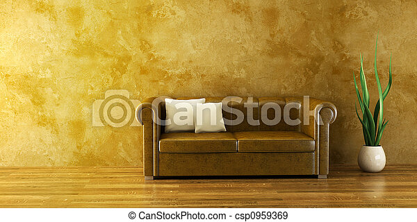 lounge room with leather couch - csp0959369