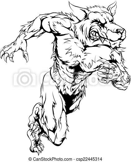 Loup garou courant sports loup mascotte sprinter - Dessin loup garou ...