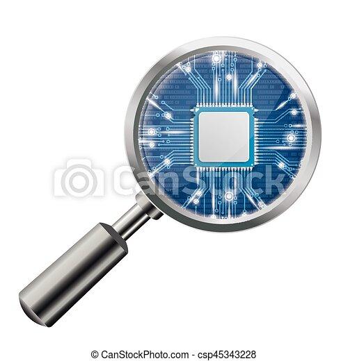 Loupe Blue Microchip - csp45343228