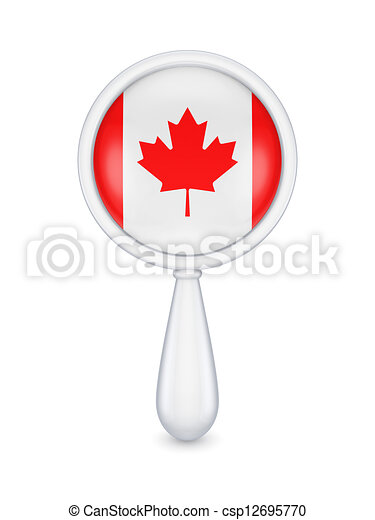 loupe, canadees, flag. - csp12695770
