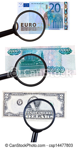 loupe zooms banknote - csp14477803