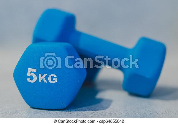 lourd, béton, dumbbells, surface - csp64855842