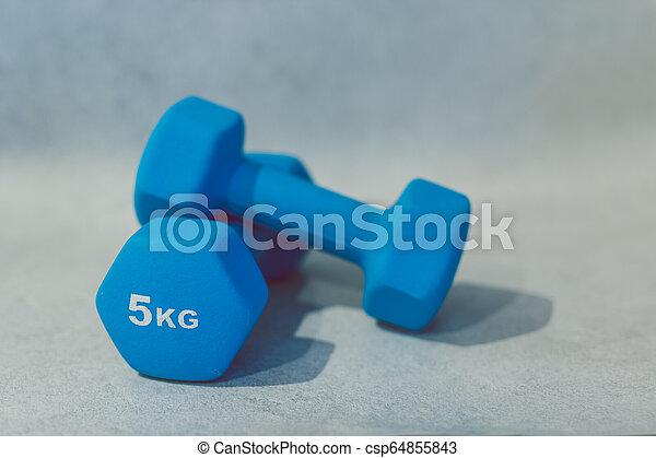 lourd, béton, dumbbells, surface - csp64855843