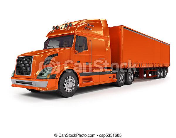 lourd, blanc, camion, isolé, rouges - csp5351685