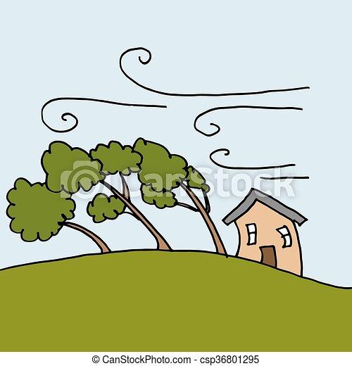 lourd, courber, arbres, venteux, vents, jour - csp36801295