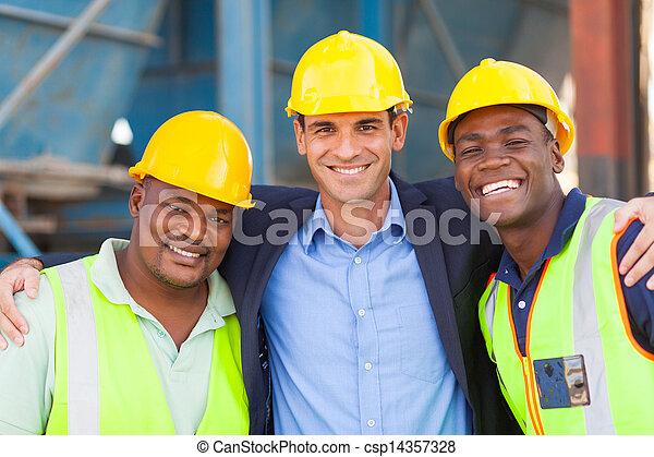lourd, industrie, ouvriers, directeur, heureux - csp14357328