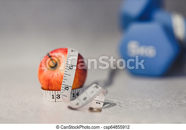 lourd, mesurer, dumbbells, pomme, surface, béton, bande - csp64855912