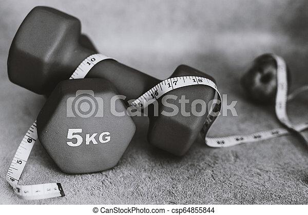 lourd, mesurer, dumbbells, surface, béton, bande - csp64855844