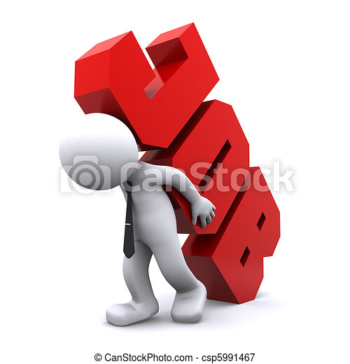 lourd, signe., métier, porter, overworking, homme, concept., 3d - csp5991467