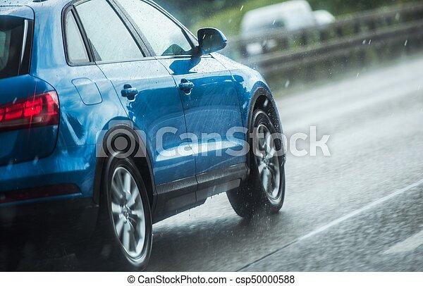 lourd, voiture, conduite, pluie - csp50000588