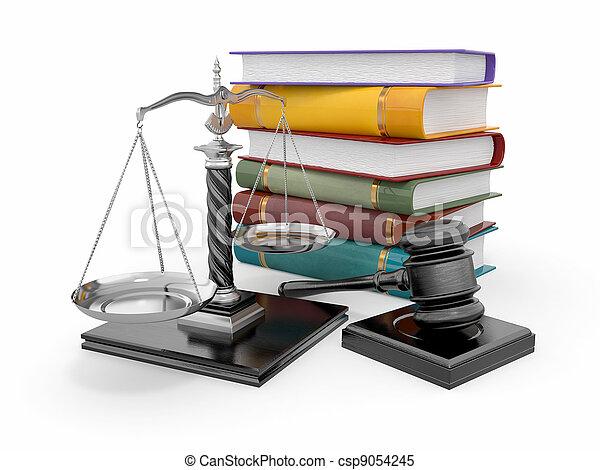 lov, retfærdighed, concept., skala, gavel - csp9054245