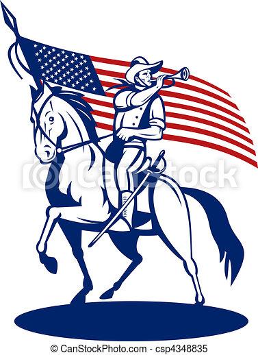 lovasság, ló, fújás, csillaggal díszít, kürt, csíkoz, lobogó, háttér, lovaglás, amerikai - csp4348835