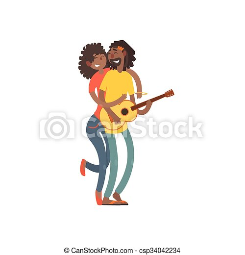 Love African American dance, happy young girl and a guy - csp34042234