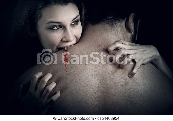Love and blood - vampire woman biting her lover - csp4403954