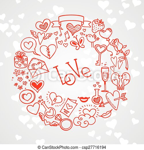 love and hearts doodles - csp27716194