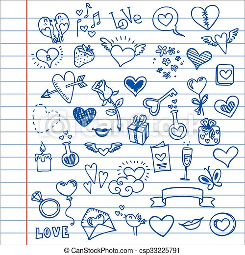 love and hearts doodles - csp33225791